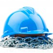 Blue hard hat and chain isolated on white background — Stock Photo