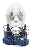 Gas mask with grenades on white background — Stock Photo