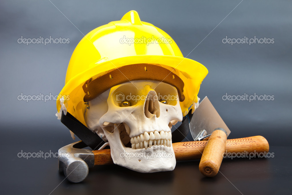 Human scull and tools on white background — Photo #13194054