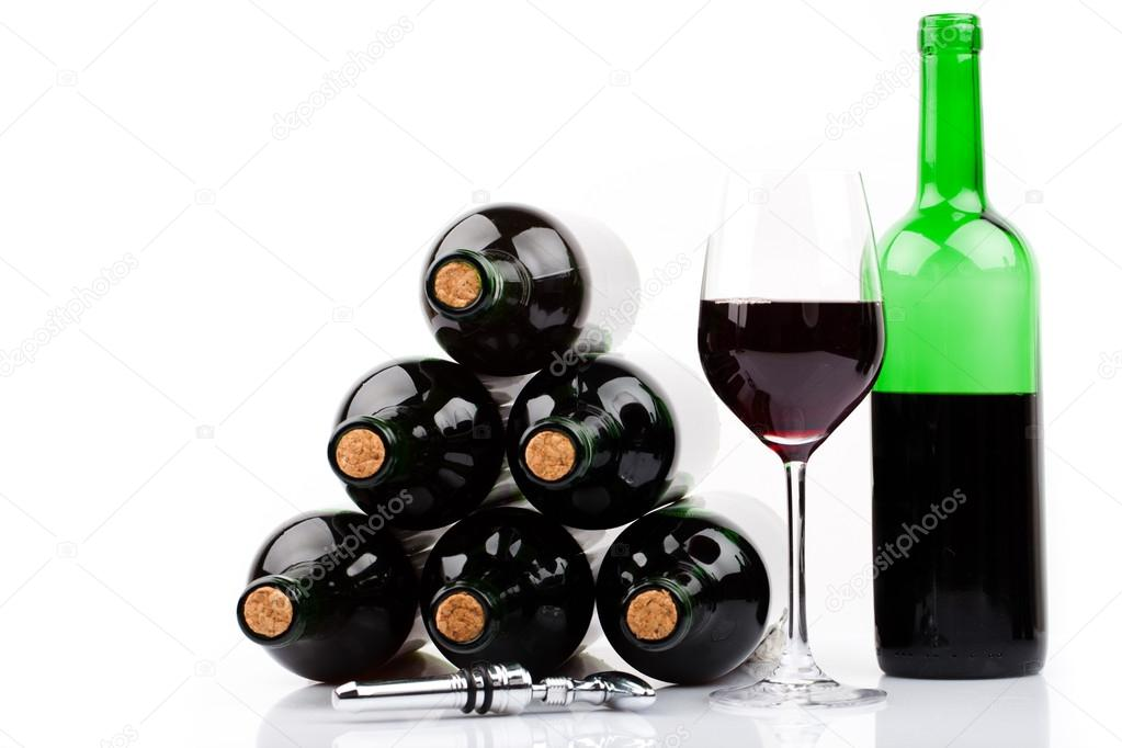 Wine bottles with corks on white background  Stock Photo #13381648