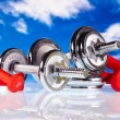 Fitness dumbbells — Stock Photo