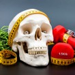 Fitness gear and human scull — Stock Photo