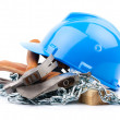 Blue helmet and carpenter tools - Foto de Stock
