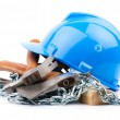 Blue helmet and carpenter tools — Stock Photo #13591093
