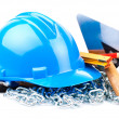 Stock Photo: Blue helmet and mason tools