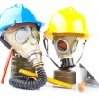 Gas masks and tools — Stock Photo