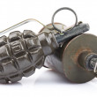 Close-up of grenade isolated on a white background — Foto Stock