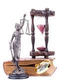 Temida statue and law book — Stock Photo