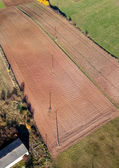 Aerial view of harvest field landscape — Stock Photo
