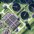 Aerial view of Opole city sewage treatment plant — Stock Photo