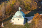 Aerial view of Saint Anna's chapel in town Pinczow, Poland — Stok fotoğraf