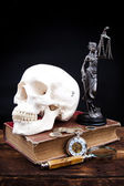 Old book temida statue and magnifying glass — Stock Photo