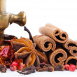 Brass mortar with spices — Stock Photo