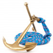 Old marine anchor and blue rope — Stock Photo #15334027