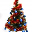Christmas tree with blue balls — Stock Photo