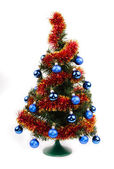 Christmas tree with blue balls — Stok fotoğraf