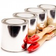 Cans of paint with paintbrushes isolated on white — Stock Photo #16859807
