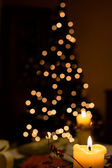 Christmas tree made of bokeh lights — Stock Photo