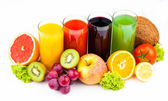 Fresh juices isolated on white — Stock Photo