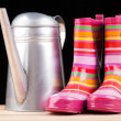 Rubber boots and watering can — Stock Photo