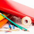 Colorful office folders and pens — Stock Photo #30297423