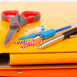 Colorful office folders and pens — Stock Photo