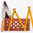 Brick and mason tools — Stock Photo