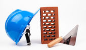 Hardhat brick and mason trowel — Foto Stock