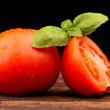 Tomato and basil on black background — Stock Photo