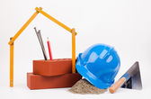 Blue hardhat, bricks and mason tools — Stok fotoğraf
