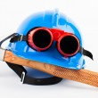 Red welder glasses — Stock Photo