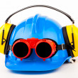 Blue helmet and welder glasses — Stock Photo