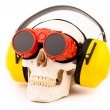 Human skull with welder glasses — Stock Photo