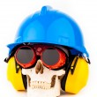 Human skull with welder glasses — Stock Photo #30494593