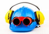 Blue helmet and welder glasses — Stock Photo