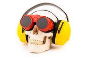 Human skull with welder glasses — Stock Photo