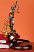 Judge gavel,scales and law books of justice — Stockfoto