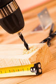 Drill and wood mounting tools — Stock Photo
