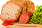 Bread and smoked sausage — Foto Stock