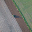Aerial view of harvest fields — Stock Photo