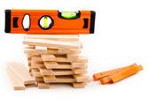 Dřevěná hračka bloky s nástroji — Stock fotografie