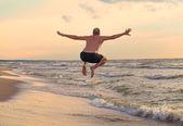Happy man jumping — Stock Photo