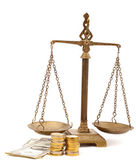 Bidding on a house scales of justice isolated — Stock Photo
