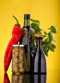 Oil olive bottles — Stock Photo