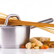 Pasta and steel pot — Stock Photo