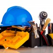 Stock Photo: Builder equipment tools isolated on white