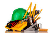 Builder equipment tools isolated on white — Stock Photo