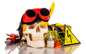 Human skull and electrician's tools — Stock Photo