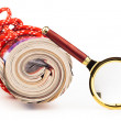 Role of newspapers and magnifying glass — Stock Photo #38309913