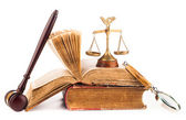 Judge gavel and old law books — Stock Photo
